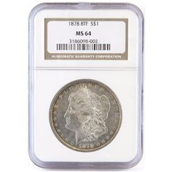 1878 8TF Morgan Dollar. NGC Certified MS64.