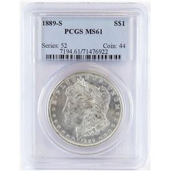 1889 S Morgan Dollar. PCGS Certified MS61.