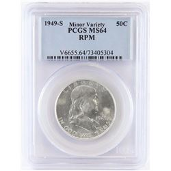1949 S Franklin Half Dollar - Re-punched Mintmark. PCGS Certified MS64.