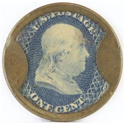 Encased Postage Stamp: 1861 Issue One Cent Encased Postage Stamp - blue. Reads: S.T. 1860. X. Drakes