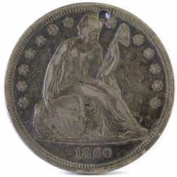 1860 O Seated Liberty Dollar - holed.