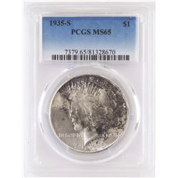 1935 S Peace Dollar. PCGS Certified MS65.