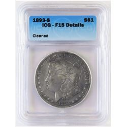 1893 S Morgan Dollar. ICG Certified F15 details - cleaned.