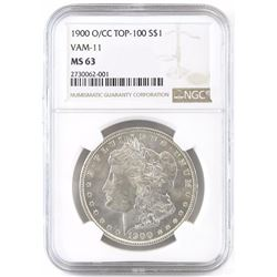 1900 O/CC Morgan Dollar - Top 100 VAM-11. NGC Certified MS63.