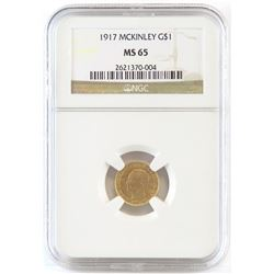 1917 $1 McKinley Commemorative Gold. NGC Certified MS65.