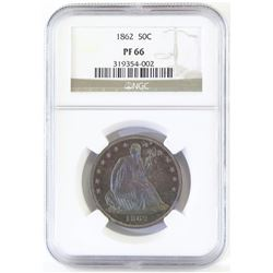 Proof: 1862 Seated Liberty Half Dollar. NGC Certified PF66.