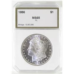 1886 Morgan Dollar. PCI Certified MS65PL.