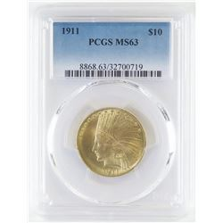 1911 $10 Indian Gold. PCGS Certified MS63.