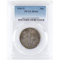 1941 S Walking Liberty Half Dollar - toned obverse. PCGS Certified MS64.
