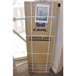 "CAML 53-1/2"" X 56"" CHROME HORIZONTAL TRIPLE SLIDING SHOWER DOOR ASSEMBLY"