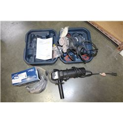 SANDER/POLISHER IN CASE AND ANGLE GRINDER AND SAFETY GOOGLES