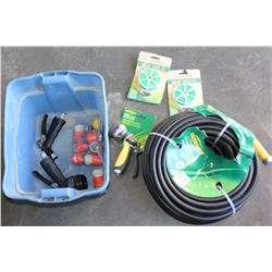 SMALL TOTE OF GARDEN HOSE, NOZZLES AND ACCESSORIES