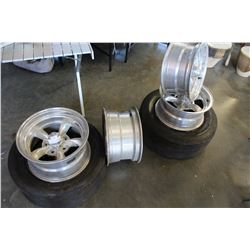 CORVETTE RIMS AND TWO RIMS WITH SLICKS