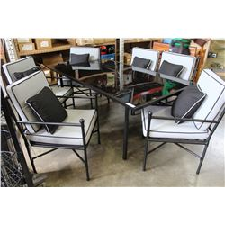 BLACK METAL GLASSTOP PATIO TABLE WITH 6 CHAIRS AND CUSHIONS