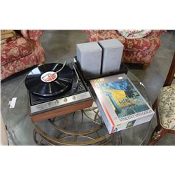 GENERAL ELECTRIC RECORD PLAYER, SPEAKERS AND NEW PUZZLE