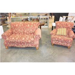 DESIGNER ROLLED ARM LOVESEAT AND CHAIR
