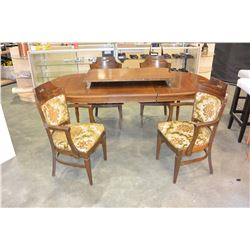 OAK FINISH DINING TABLE WITH TWO LEAFS AND FOUR CHAIRS