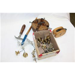 VINTAGE PULLEY CLAMP TOOLS AND VINTAGE HARDWARE