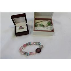 TWO MURANO GLASS BRACELETS AND PINK STONE DINNER RING