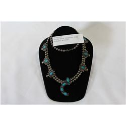 NATIVE STYLE TURQUOISE STONE NECKLACE ON STAND