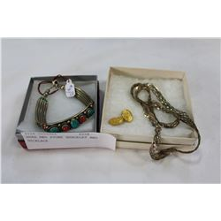 BEAD AND STONE BRACELET AND NECKLACE