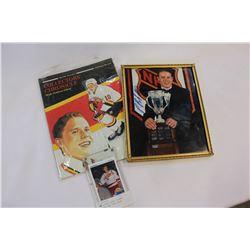 PAVEL BURE CARD, SIGNED PICTURE AND 1992 BOOK