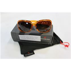 NEW RYDERS KIRA CRYSTAL ORANGE POLARIZED BROWN GRADIENT LENS SUNGLASSES, RETAIL $89.99