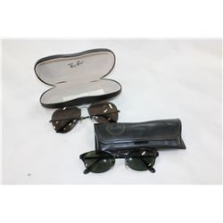 TWO PAIR OF RAYBAN SUNGLASSES WITH CASES