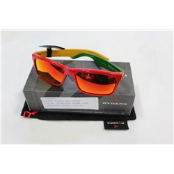 RYDERS HILROY RED GREEN YELLOW, POLARIZED BROWN LENS SUNGLASSES RETAIL $69.99