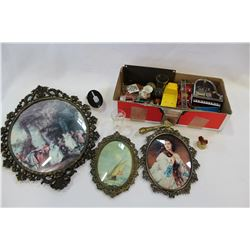 BOX OF COLLECTIBLE MINIATURES AND THREE VINTAGE OVAL FRAMES