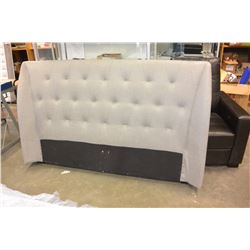 NEW HOME ELEGANCE GREY TUFTED QUEENSIZE HEADBOARD, RETAIL $399