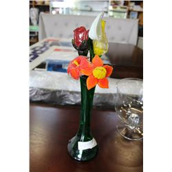 ART GLASS FLOWERS IN GREEN GLASS VASE