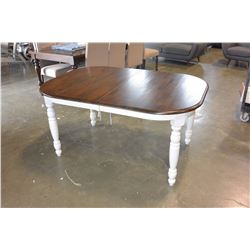 NEW HOME ELEGANCE MODERN COUNTRY STYLE OVAL TABLE WITH JACKNIFE LEAF, RETAIL $1199
