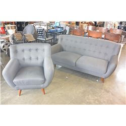 NEW HOME ELEGANCE GREY TUFTED MODERN SOFA AND CHAIR, RETAIL $1899