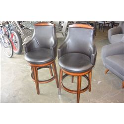 NEW PAIR OF HOME ELEGANCE BLACK LEATHER SWIVEL PUB CHAIRS, RETAIL $249 EACH