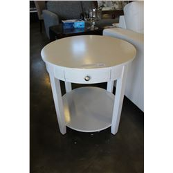 NEW HOME ELEGANCE WHITE MODERN ROUND ENDTABLE WITH DRAWER RETAIL $249