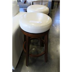 NEW PAIR OF HOME ELEGANCE WHITE LEATHER SWIVEL BARSTOOLS, RETAIL $169 EACH
