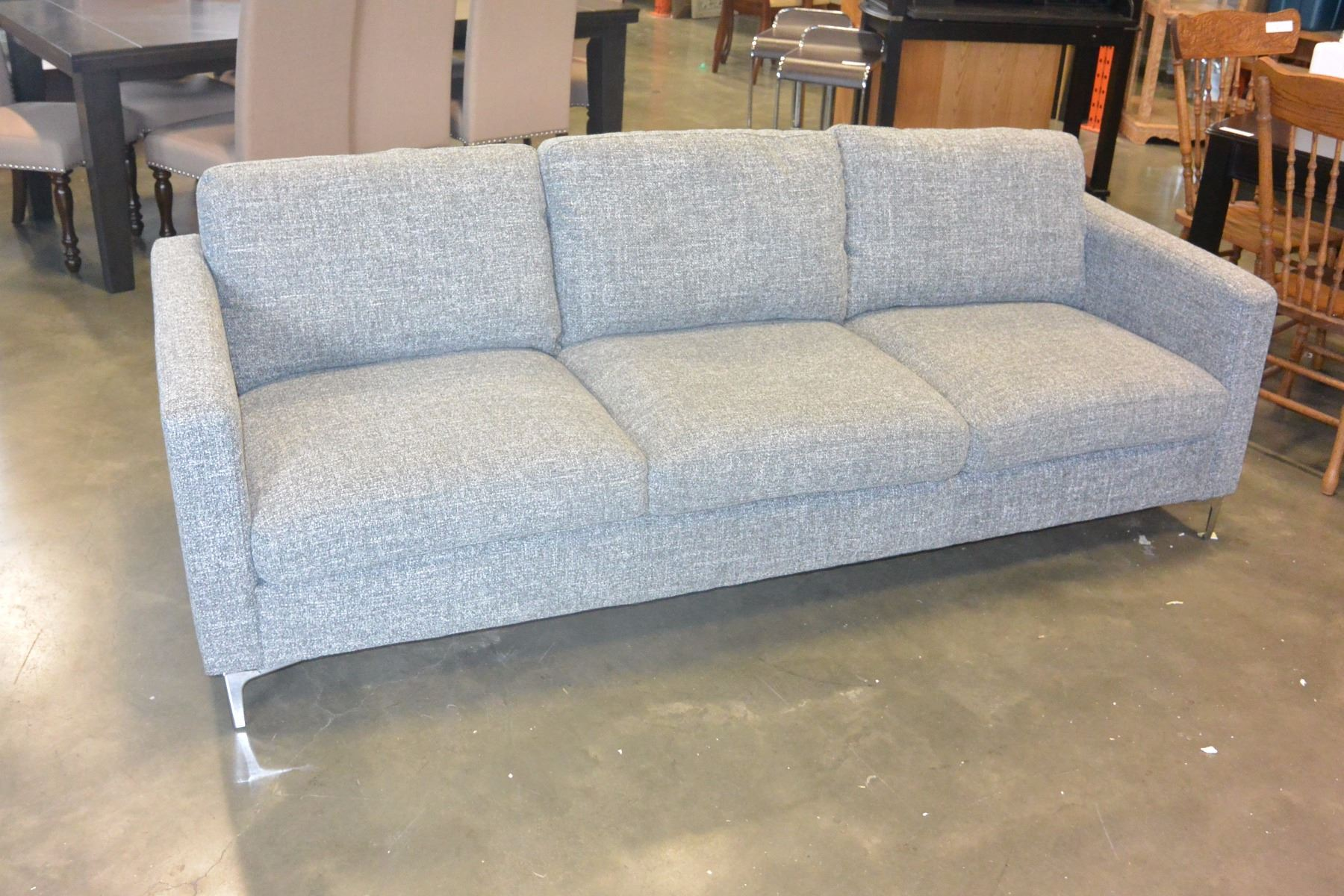 Image 1 New Home Elegance Modern Grey Tweed Fabric Sofa Retail 1399