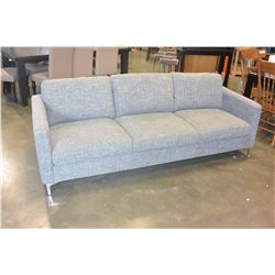 NEW HOME ELEGANCE MODERN GREY TWEED FABRIC SOFA, RETAIL $1399