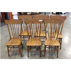 SIX OAK PRESSBACK CHAIRS MADE IN CANADA