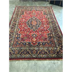 NEW, LARGE 3X2 METER 100% WOOL HAND MADE/KNOTTED MAHSHAD RED/ NAVY BLUE PERSIAN CARPET, 45-50 KNOTS