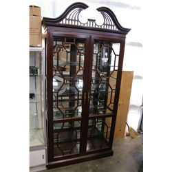 LINEAGE HOME FURNISHING MAHOGANY GLASSDOOR ILLUMINATED CABINET