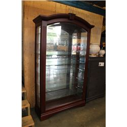 7 ILLUMINATED GLASS FRONT AND SIDES DISPLAY CABINET WITH KEY