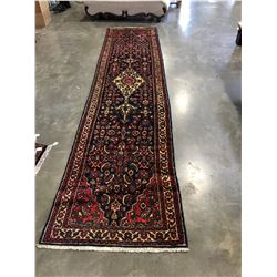 NEW, 100% WOOL, HAND MADE/ KNOTTED, 4X1 METER TABRIZ, BLACK, RED, WHITE PERSIAN HALL RUNNER, 45-50 K