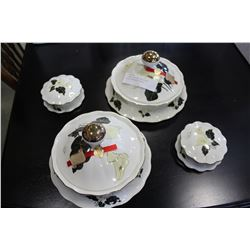 4 PIECE ITALIAN PORCELAIN LIDDED DRESSER DISHES