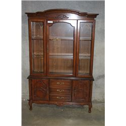 2-PIECE WALNUT FRENCH PROVINCAL DISPLAY CABINET