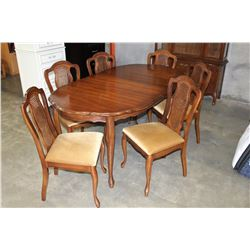 WALNUT FRENCH PROVINCAL DINING TABLE WITH LEAF AND SIX CHAIRS