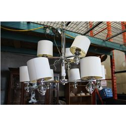 MODERN CHROME AND GLASS 9-LIGHT CHANDELIER