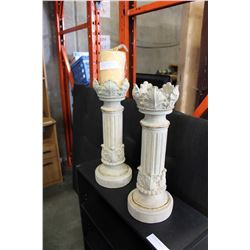 PAIR OF ITALIAN POTTERY CANDLESTANDS