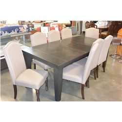 NEW HOME ELEGANCE 9 PIECE DINING SET, 8 STUDDED BEIGE FABRIC CHAIRS, AND MODERN DINING TABLE WITH JA
